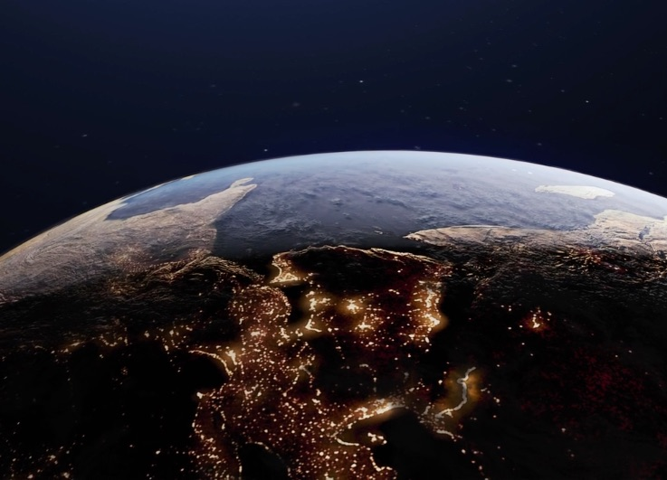 Aerial view of world with lights