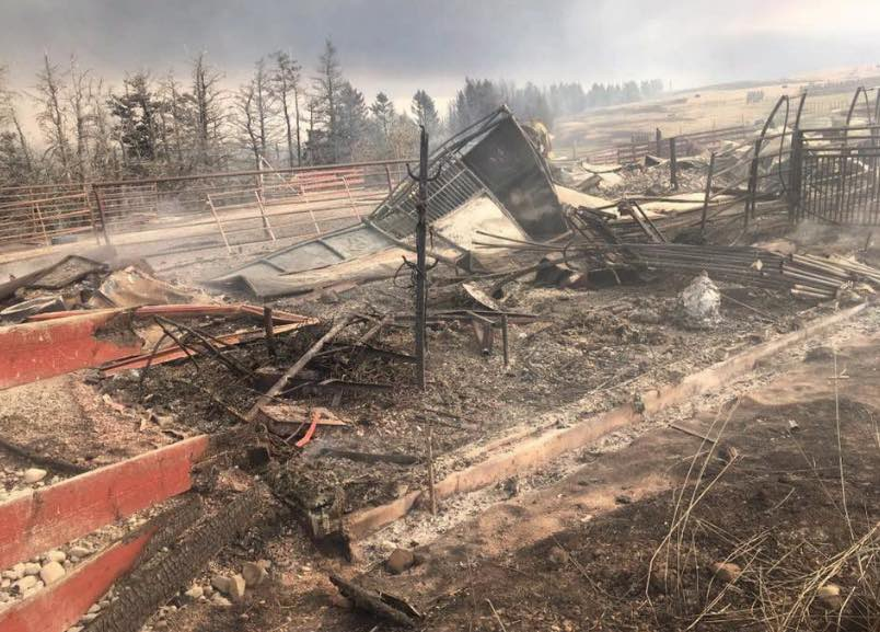 fire ravaged ranch building near Waterton