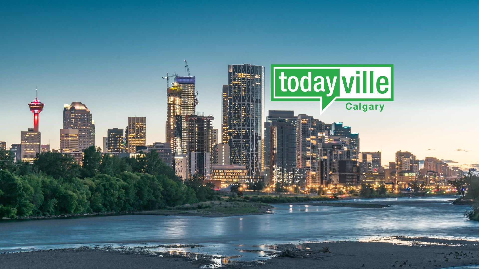 Calgary skyline with Todayville logo