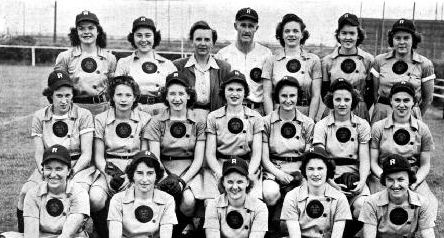 1945 Rockford Peaches - Betty third from right in middle row