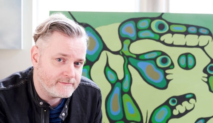 Kevin Hearn of the Barenaked Ladies with the painting Spirit Energy of Mother Earth