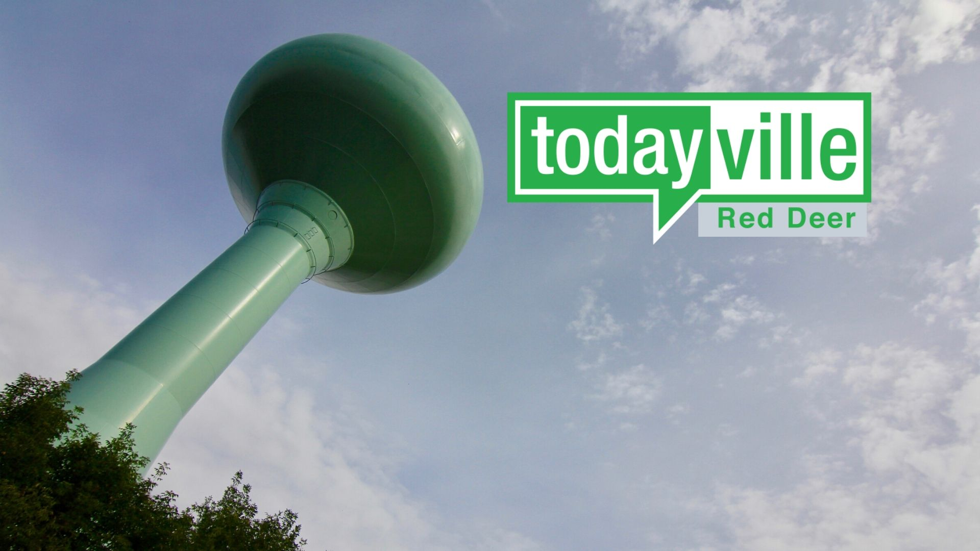 Red Deer water tower with todayville logo
